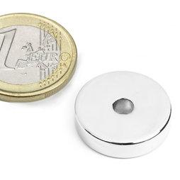 R-20-04-05-N, Ring magnet Ø 20/4,2 mm, height 5 mm, neodymium, N45, nickel-plated