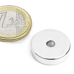 R-20-04-05-N, Anneau magnétique Ø 20/4,2 mm, hauteur 5 mm, néodyme, N45, nickelé