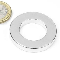 R-40-23-06-N, Anneau magnétique Ø 40/23 mm, hauteur 6 mm, néodyme, N42, nickelé