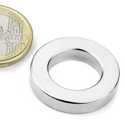 R-27-16-05-N, Ring magnet Ø 26,75/16 mm, height 5 mm, neodymium, N42, nickel-plated