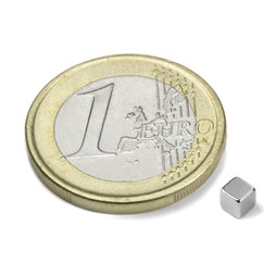 W-03-N, Cube magnet 3 mm, neodymium, N45, nickel-plated