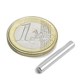 S-04-25-N, Cylindre magnétique Ø 4 mm, hauteur 25 mm, néodyme, N42, nickelé