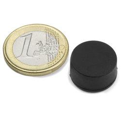 S-15-08-R, Disc magnet Ø 16,8 mm, Height 9,4 mm, neodymium, N42, rubberised