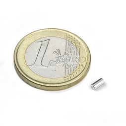 S-02-04-N, Rod magnet Ø 2 mm, height 4 mm, neodymium, N45, nickel-plated