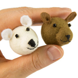 LIV-84, Teddies, fridge magnets made of felt, with glass beads, set of 2