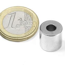 R-12-05-12-N, Ringmagnet Ø 12/5 mm, Höhe 12 mm, Neodym, N42, vernickelt