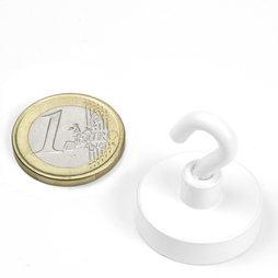 FTNW-25, Hook magnet white, Ø 25,3 mm, powder-coated, thread M4