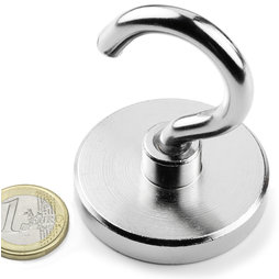 FTN-50, Hook magnet, Ø 50 mm, Thread M8, strength approx. 75 kg