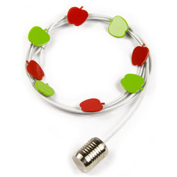 SALE-091, Photo rope Apples 1${dec}5 m, with loop and steel weight, includes 8 magnets in apple shape, foto rope white