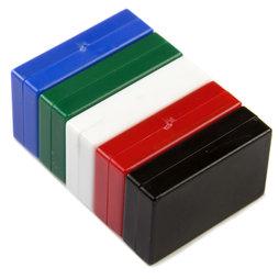 M-BLOCK-01/mixed1, Quadermagnete mit Kunststoffhülle, 5 Stück pro Set, bunt gemischt