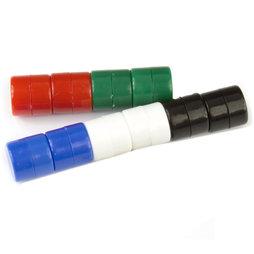 M-DISC-01/mixed1, Schijfmagneten met kunststof ommanteling Ø 9,4 mm, 10 stuks per set, bont gemengd