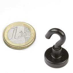 FTNB-16, Magnete con gancio nero Ø 16,3 mm, verniciato a polvere, filettatura M4