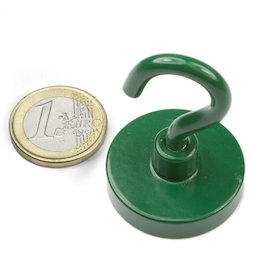 FTNG-32, Hook magnet green, Ø 32,3 mm, powder-coated, thread M5