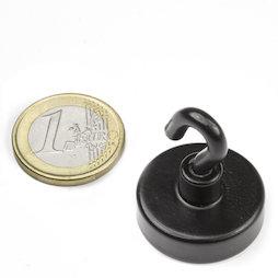 FTNB-25, Hakenmagnet schwarz, Ø 25,3 mm, pulverbeschichtet, Gewinde M4