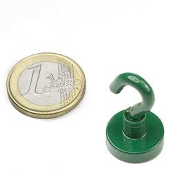 FTNG-16, Gancho magnético verde, Ø 16,3 mm, recubrimiento de polvo, rosca M4