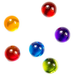 LIV-14, Marbles, colourful deco magnets made of acrylic glass, set of 6