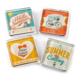 SALE-094, Summer, fridge magnets with summer motives, set of 4