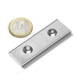 CSR-60-20-04-N, Magnete piatto a barra 60 x 20 x 4 mm, con foro svasato, profilo a U in acciaio