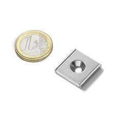CSR-20-20-04-N, Channel magnet 20 x 20 x 4 mm, with countersunk borehole, in U-shaped steel profile