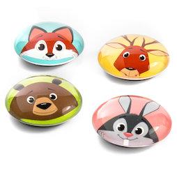 LIV-105, Funimals, aimants boutons avec visages drôles d'animaux, lot de 4