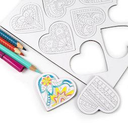 LIV-109, Mandala harten, koelkastmagneten om zelf in te kleuren, hartvormig, set van 9