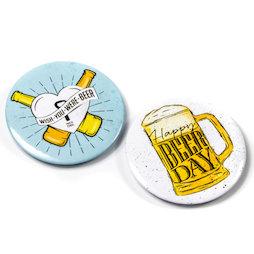 LIV-106/happy, Magnetische flessenopener, om bijv. aan de koelkast te hangen, set van 2, 'Happy Beer Day'