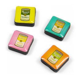 SALE-053/soup, Icons, Dekomagnete quadratisch, 4er-Set, Retro Soup