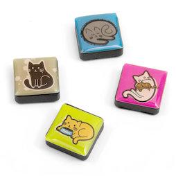 SALE-053/cats, Icons, decoratiemagneten vierkant, set van 4, katten