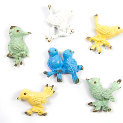 SALE-103, Ornament Birds, fridge magnets in second-hand look, set of 6
