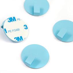 SALE-115, Metalen haken zelfklevend, rond, blauw, set van 4, geen magneten!