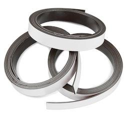 MT-10/white, Farbiges Magnetband 10 mm, zum selber Beschriften und Zuschneiden, Rollen à 1 m, weiß