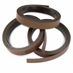 MT-10/brown, Farbiges Magnetband 10 mm, zum selber Beschriften und Zuschneiden, Rollen à 1 m, braun