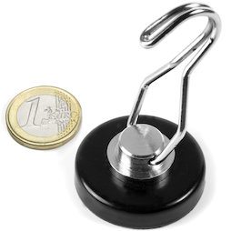 FTNT-40-B, Pot magnet with rotating hook, Ø 40.2 mm, black, with rubberised surface