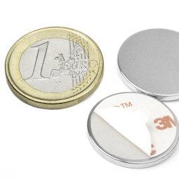 S-22-02-FOAM, Disque magnétique autocollant Ø 22 mm, hauteur 2 mm, néodyme, N35, nickelé