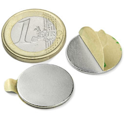 S-20-01-STIC, Disc magnet self-adhesive Ø 20 mm, height 1 mm, neodymium, N35, nickel-plated