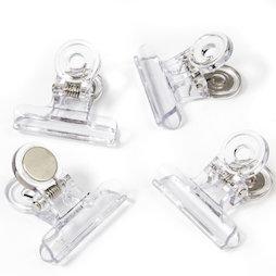 LIV-113, Pinzas magnéticas transparentes, de plástico, 4 uds.