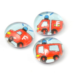 LIV-118/fire, Reddingswagen, handgemaakte koelkastmagneten, set van 3, brandweer