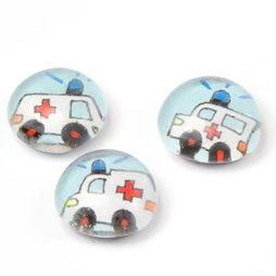 LIV-118/ambu, Reddingswagen, handgemaakte koelkastmagneten, set van 3, ziekenauto