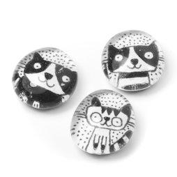 LIV-121/black, Katzen, handgemachte Kühlschrankmagnete, 3er-Set, schwarz-weiß