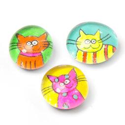 LIV-121/neon, Katten, handgemaakte koelkastmagneten, set van 3, neonkleurig