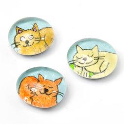LIV-121/colored, Katten, handgemaakte koelkastmagneten, set van 3, veelkleurig