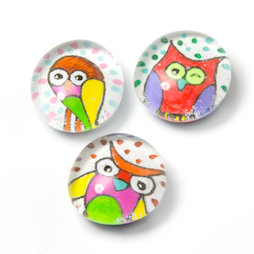 LIV-120/owl, Cult-dieren, handgemaakte koelkastmagneten, set van 3, uil