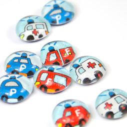 LIV-118, Rettungsfahrzeuge, handgemachte Kühlschrankmagnete, 3er-Set