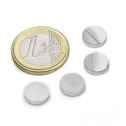 PAS-10, Disque métallique autocollant, Ø 10 mm, contre-pièce pour aimants, non magnétique !