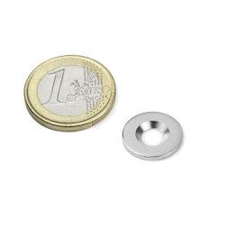 MD-15, Metallscheibe mit Senkbohrung Ø 15 mm, als Gegenstück zu Magneten, kein Magnet!