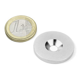 MD-27, Metal disc with counterbore, Ø 27 mm, as a counterpart to magnets, not a magnet!