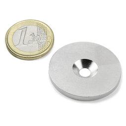 MD-34, Metallscheibe mit Senkbohrung, Ø 34 mm, als Gegenstück zu Magneten, kein Magnet!