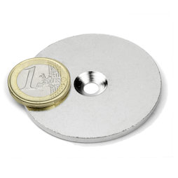 MD-52, Metal disc with counterbore, Ø 52 mm, as a counterpart to magnets, not a magnet!