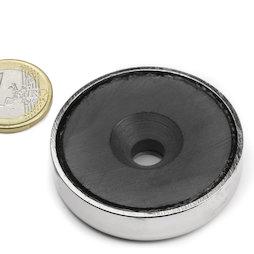 CSF-48, Magnete in ferrite con base in acciaio, con foro svasato, Ø 48 mm