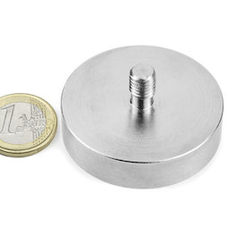 GTN-48, Aimant en pot à goupille filetée Ø 48 mm, pas de vis M8, force d'adhérence env. 85 kg